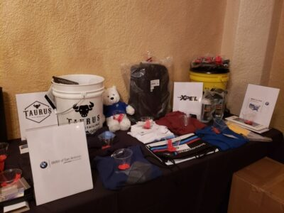 Door prizes from Taurus Auto Detailing, XPEL, BMW of Austin, BMW of San Antonio, and BMW CCA
