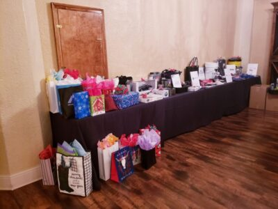 White elephant gifts and raffle prizes ready to go